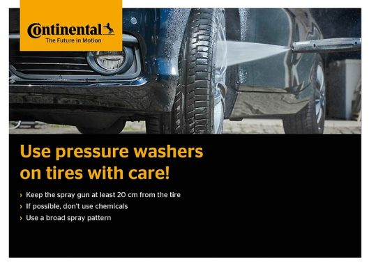 Use pressure washers on tyres with care