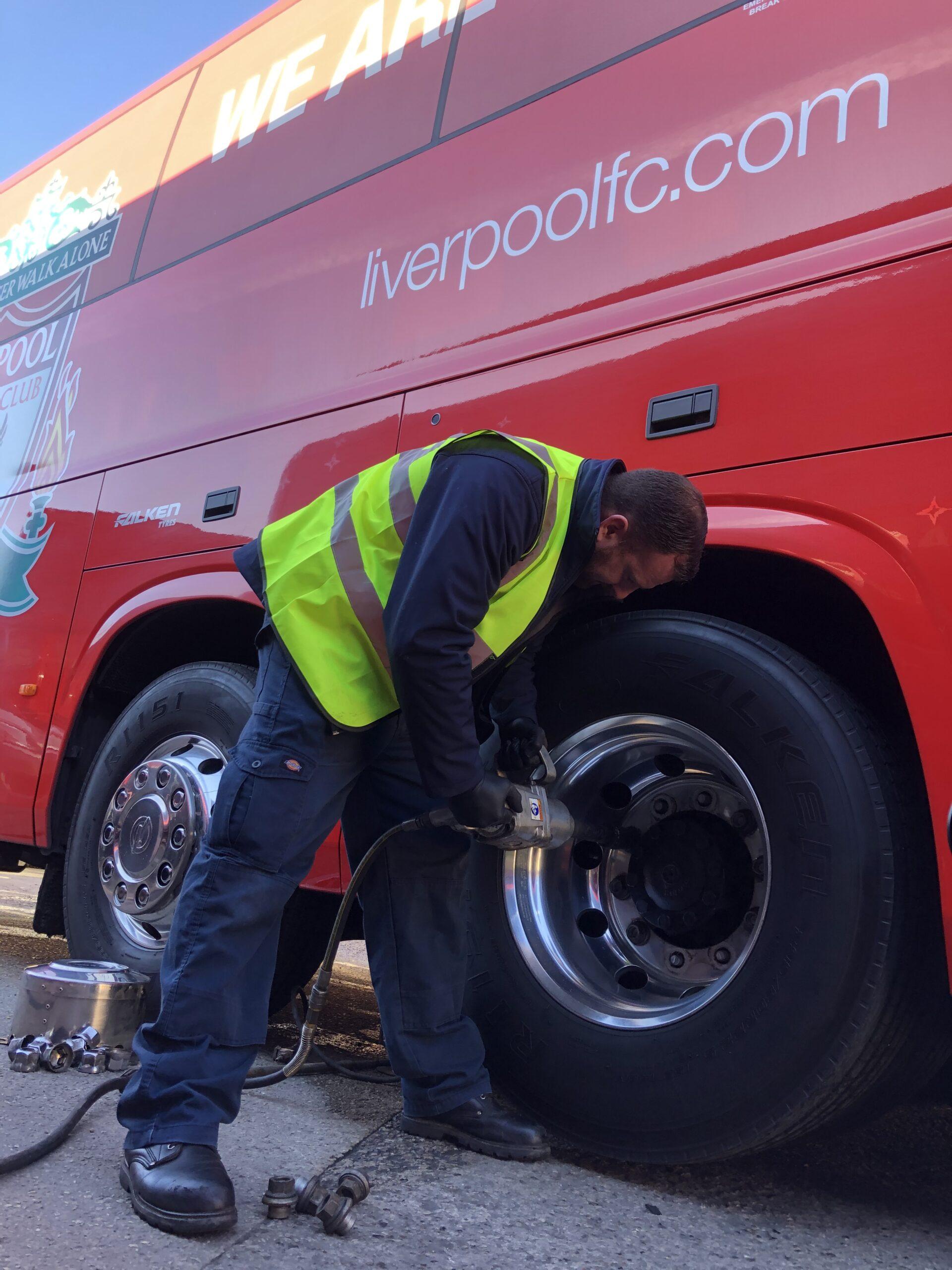Liverpool FC official tyre Falken supplies team bus as Premier League restarts