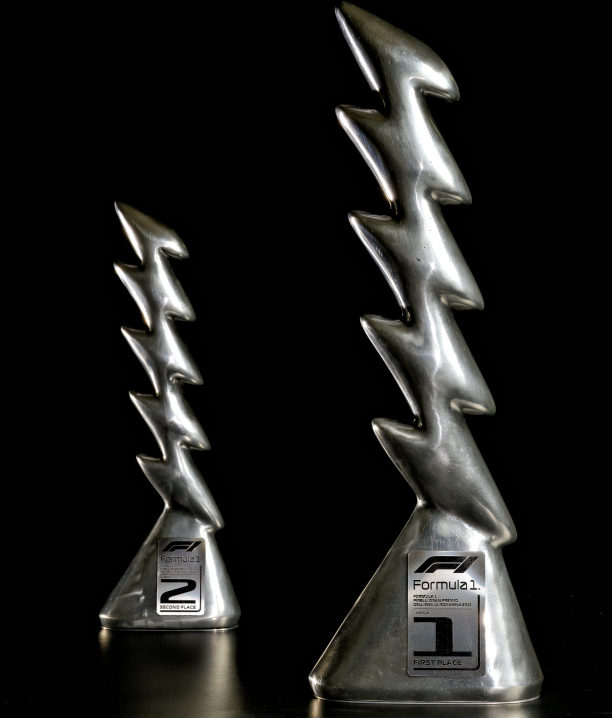 Inspired by racing cars, landscapes & Zeus: Pirelli's Imola F1 trophies